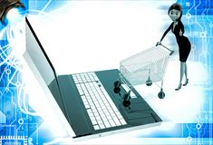 3d woman going for online shopping through laptop with cart illustration Stock Photography