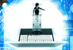 3d woman going for online shopping through laptop with cart illustration Royalty Free Stock Photos