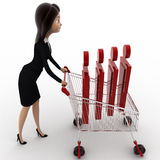 3d woman going for shopping with cart and puppet in it concept Stock Photos