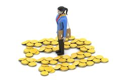 3d woman with gold coins Royalty Free Stock Photography