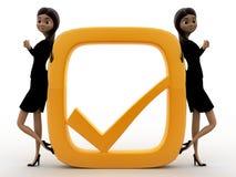 3d woman with golden check mark concept Stock Photos