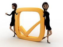 3d woman with golden check mark concept Royalty Free Stock Image