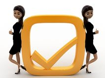 3d woman with golden check mark concept Stock Images