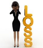 3d woman with golden loss concept Stock Image