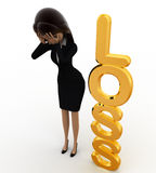 3d woman with golden loss concept Stock Photography