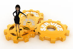 3d woman with golden service gears concept Stock Images