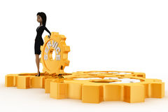 3d woman with golden service gears concept Royalty Free Stock Photos