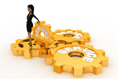 3d woman with golden service gears concept Royalty Free Stock Image