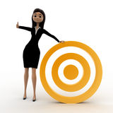 3d woman with golden target concept Stock Photos