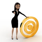 3d woman with golden target concept Royalty Free Stock Photo