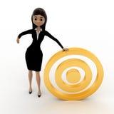 3d woman with golden target concept Stock Photos
