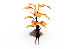 3d woman golden tree concept Royalty Free Stock Image