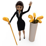 3d woman with golf bat concept Royalty Free Stock Image