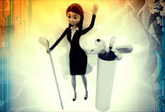 3d woman with golf bat illustration Stock Images