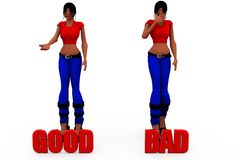 3d woman good bad cocnept Stock Photography
