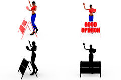 3d woman good opinion concept Collections With Alpha And Shadow Channel Stock Image