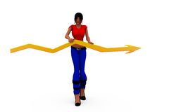 3d woman graph arrow conept Royalty Free Stock Photography