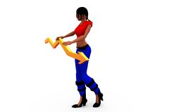 3d woman graph arrow conept Royalty Free Stock Images