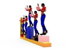 3d woman graph bars concept Royalty Free Stock Photos