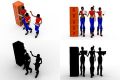 3d woman group cube concept collections with alpha and shadow channel Stock Photography