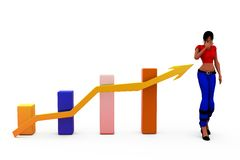 3d woman growth bar concept Stock Images