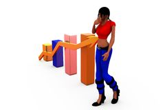 3d woman growth bar concept Stock Photo