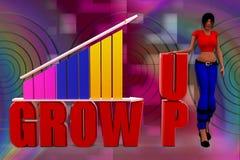 3D woman growth bar illustration Royalty Free Stock Image