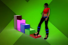 3d woman with growth graph Stock Photo