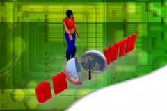 3D woman growth sumbitter llustration Royalty Free Stock Images