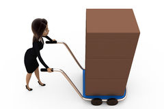 3d woman with handtruck concept Stock Photo
