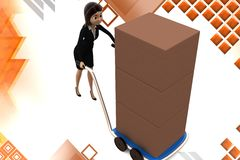 3d character moving hand truck full of goods illustration Stock Photo