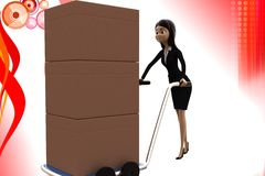 3d character moving handtruck full of goods illustration Stock Photos