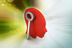 3d woman head with key. In color background Stock Images