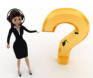 3d woman with headphone and golden question mark concept Stock Photos