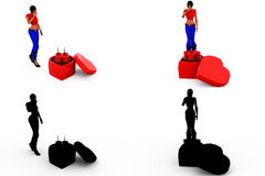 3d woman heart bomb concept Collections With Alpha And Shadow Channel Stock Image