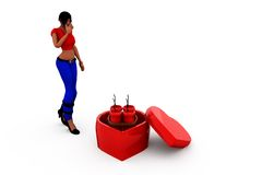 3d woman heart bomb concept Stock Images