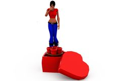 3d woman heart bomb concept Royalty Free Stock Photos