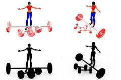 3d woman heavy weight concept Collections With Alpha And Shadow Channel Royalty Free Stock Image
