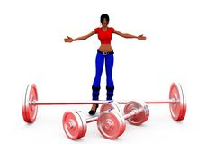 3d woman heavy weight concept Stock Photos