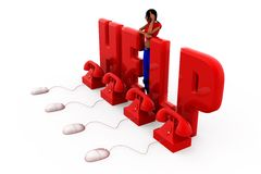 3d woman help center concept Royalty Free Stock Images