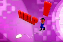 3d woman help illustration Stock Images
