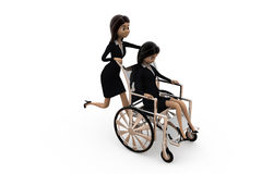 3d woman help on wheel chair concept Royalty Free Stock Photo