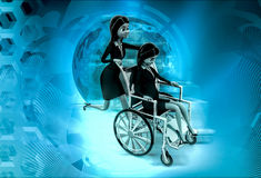 3d woman help on wheel chair concept Stock Images