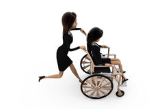 3d woman help on wheel chair concept Royalty Free Stock Photography