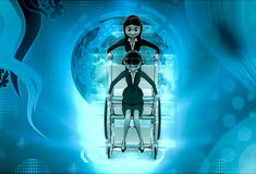 3d woman help on wheel chair concept Stock Photo