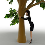 3d woman hiding behind truck of tree concept Stock Photography