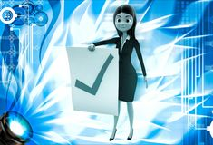 3d woman holdig paper with right symbol for approve illustration Royalty Free Stock Photography
