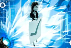 3d woman holdig paper with right symbol for approve illustration Stock Photography