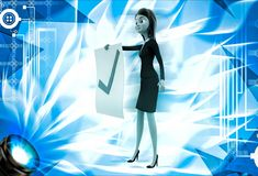 3d woman holdig paper with right symbol for approve illustration Royalty Free Stock Images