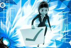 3d woman holdig paper with right symbol for approve illustration Royalty Free Stock Image